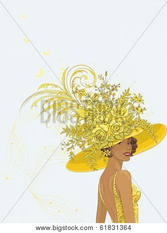 Portrait of a young woman in yellow hat decoration with flowers