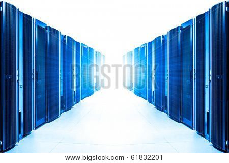 row of server racks with strong light from the end