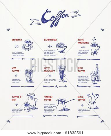 Coffee menu. Blue pen drawings