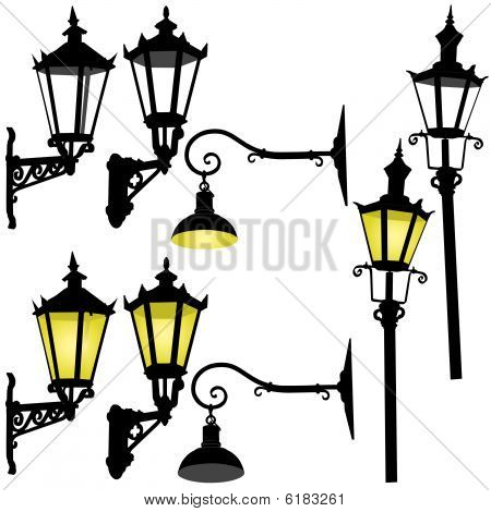 Retro street lamp and lattern vector illustration collection poster