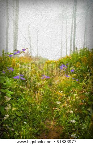 Stylized Rendering Of Vegetation In A Forest