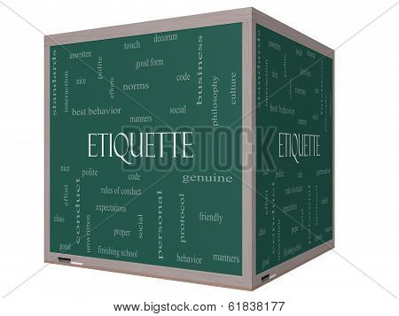 Etiquette Word Cloud Concept On A 3D Cube Blackboard