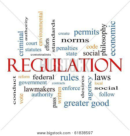 Regulation Word Cloud Concept with great terms such as rules enforce government and more. poster