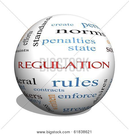 Regulation 3D sphere Word Cloud Concept with great terms such as rules enforce government and more. poster