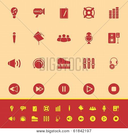 Music Color Icons On Yellow Background