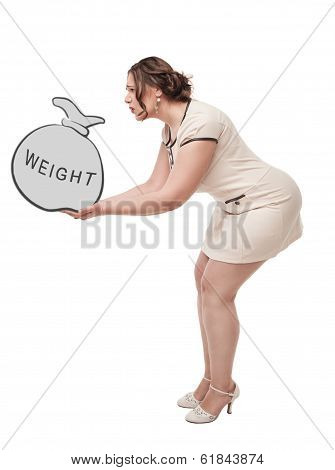 Beautiful Plus Size Woman Holding Bag With Word Weight