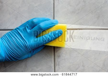 Sponge Cleaning Bathroom With German Lettering