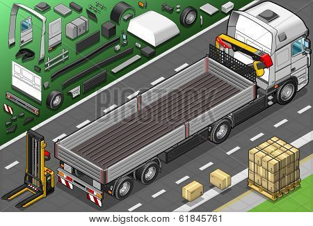 Isometric Pick Up Truck In Rear View