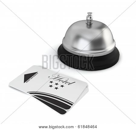 Cardkeys And Bell On Hotel Reception