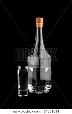 Bottle And Glass With Alcohol.