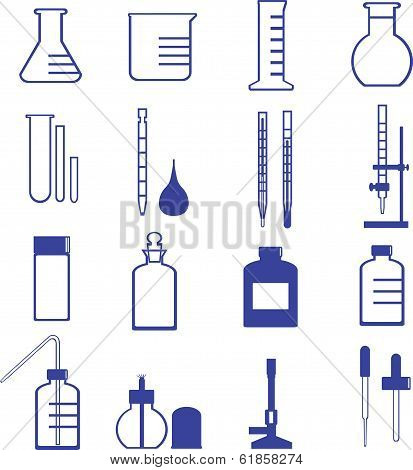 chemistry glassware and tools vector