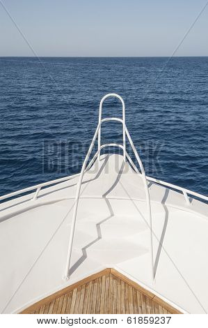 Bow Of A Private Motor Yacht