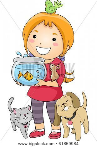 Illustration of a Little Girl Surrounded by Different Types of Pets poster