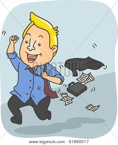 Illustration of a Man Running Excitedly After Getting Off Work