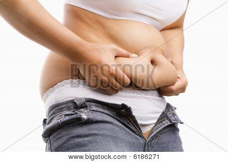 Fat Woman Pinching Her Fat Tummy