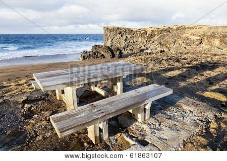 Picnic Table Near A Beach At Snaefellsnes Peninsula.