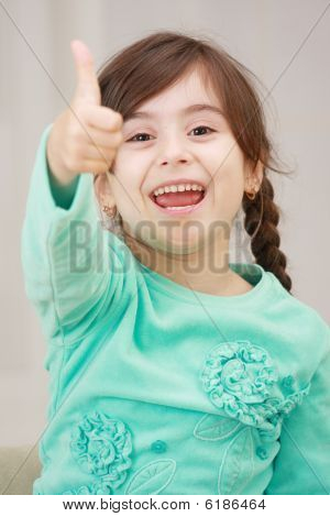 Shouting Girl With Thumb Up