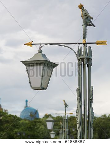 Lamp with the index on the Hare island in St. Petersburg
