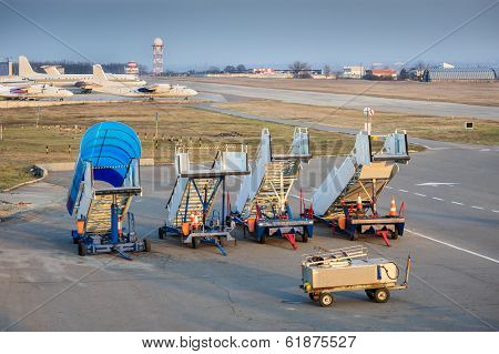 Aircraft boarding bridges awaiting service at Chisinau Ariport