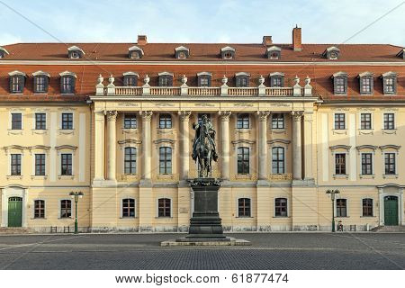 WEIMAR, GERMANY - AUG 4, 2012: Duke Carl August monument in Weimar with facade