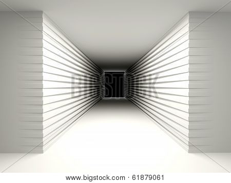 Abstract Background With A Dark Corridor. The Concept Of Perspective, Of The Unknown.