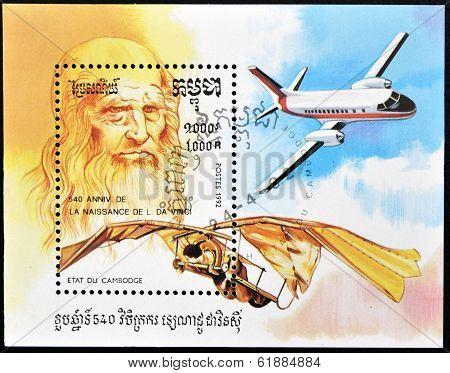 CAMBODIA - CIRCA 1992: A stamp printed in Cambodia dedicated to Leonardo da Vinci