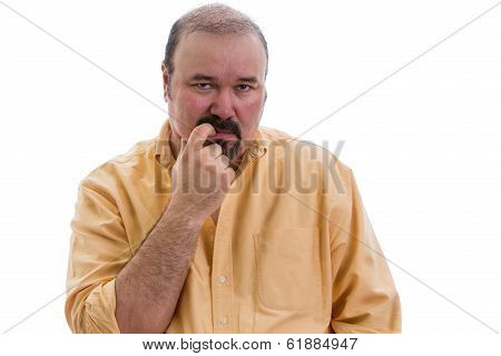 Thoughtful Man Chewing His Finger As He Debates