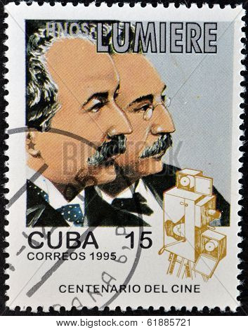 CUBA - CIRCA 1995: A stamp printed in Cuba shows brother lumiere circa 1995