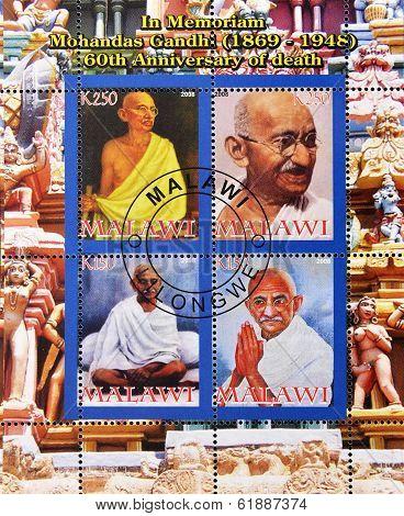 MALAWI - CIRCA 2008: A stamp printed in Malawi shows Gandhi