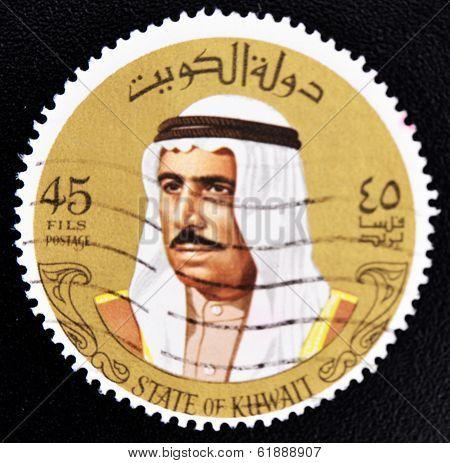 KUWAIT - CIRCA 1993: a stamp printed in Kuwait shows image of Sheik Sabah circa 1974
