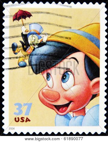 UNITED STATES OF AMERICA - CIRCA 2004: A stamp printed in USA shows Pinocchio circa 2004