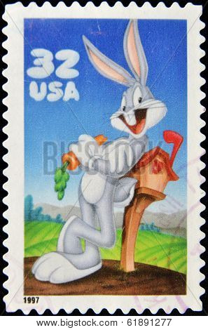 UNITED STATES OF AMERICA - CIRCA 1997: A stamp printed in USA shows Bugs Bunny circa 1997
