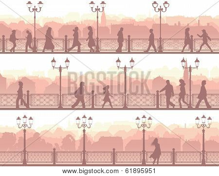 Horizontal Banners Of Downtown Street With People.