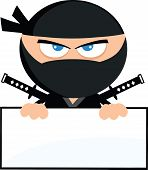 Angry Ninja Warrior Cartoon Character Over Blank Sign Flat Design  Illustration Isolated on white poster