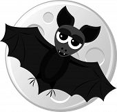 Cartoon bat flying on the moon background. Vector illustration. poster
