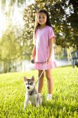 Pretty young Asian girl walking Alaskan Klee Kai puppy on leash on grass poster