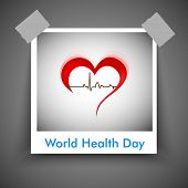 Abstract World health day concept with heart and heart beats.  poster