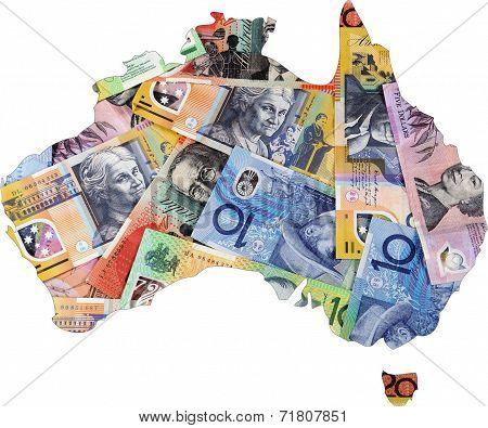 Map Of Australia With Australian Money Dollar Notes.