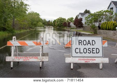 Road Closed Horizontal Flooded Street