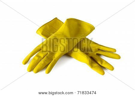 Yellow Rubber Gloves Isolated On White
