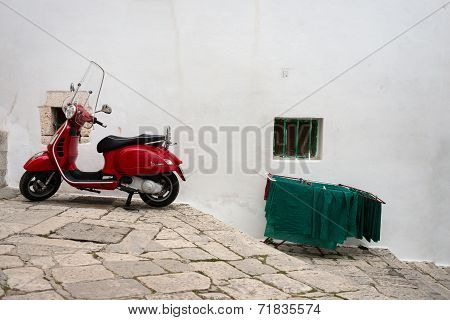 Ostuni ( Brindisi-italy) -  April 21, 2014  : A Red