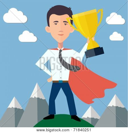 businessman hero standing on top of the world with a trophy