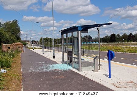 Vandalised Bus Stop.