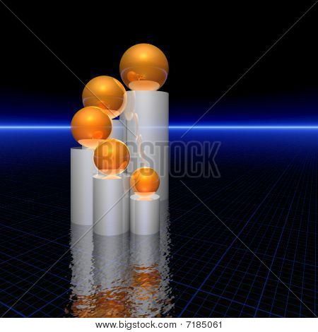Five Golden Spheres