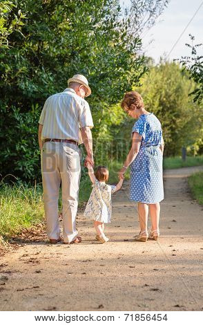 Grandparents and baby grandchild walking outdoors