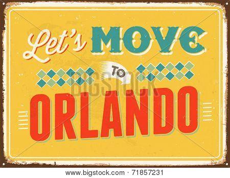 Vintage metal sign - Let's move to Orlando - JPG Version