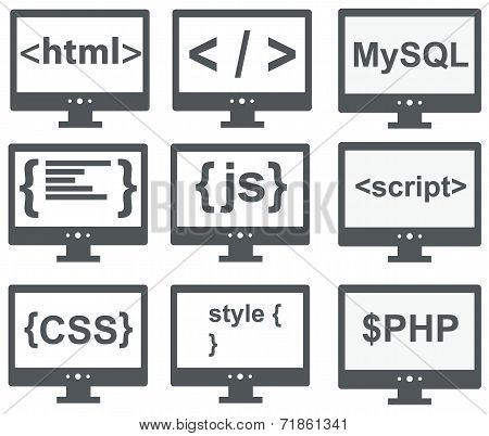 vector collection of web development icons