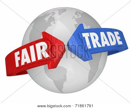 Fair Trade words on arrows around the world supporting equitable conditions in the global supply chain of products, goods and services