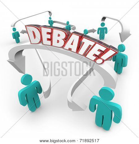 Debate word in red 3d letters on arrows connecting people discussing disagreements and exchanging or sharing ideas