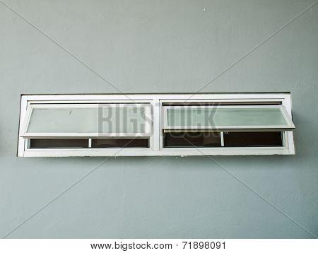 Opened Aluminium Window On Grey Wall